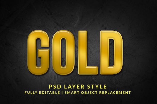 Efeito de texto 3d dourado