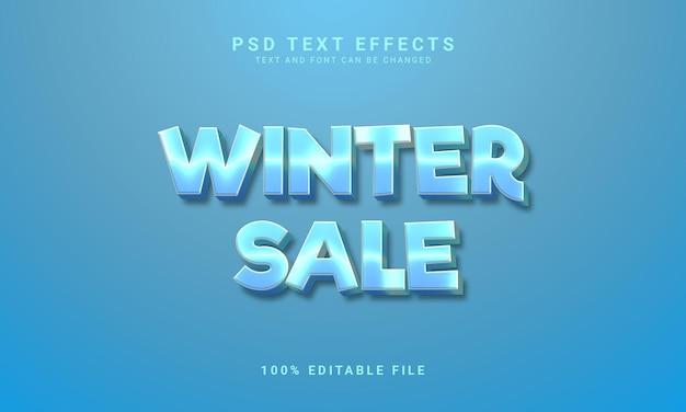 Efeito de texto 3d editável de promoção de inverno