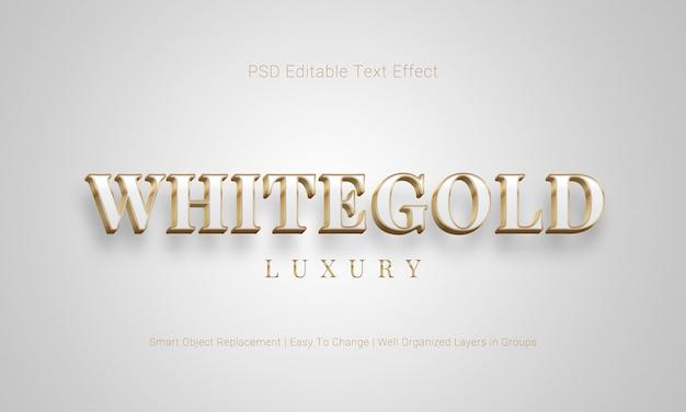 Efeito de texto 3d editável no esquema de cores branco e dourado e estilo flutuante