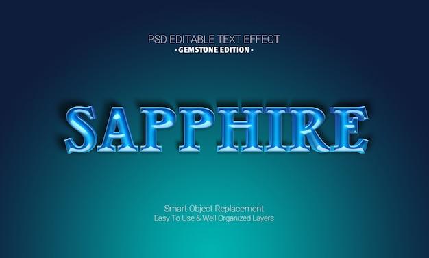 Efeito de texto 3d editável premium do photoshop na gemstone edition of blue cyan sapphire shiny design