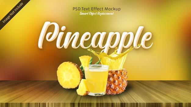 Efeito de texto 3d em abacaxi