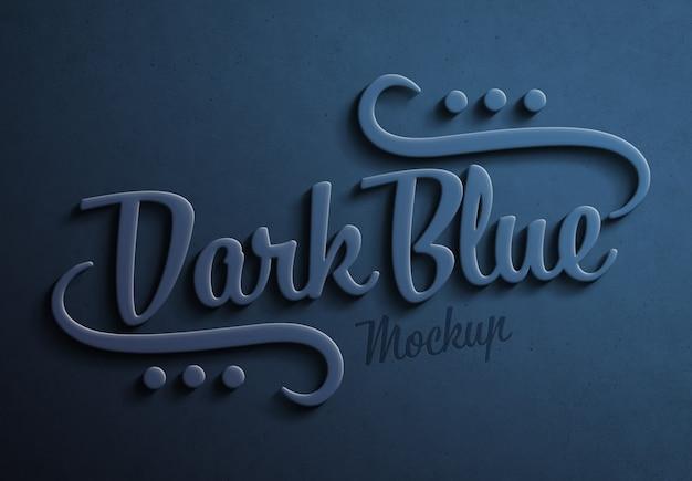 Efeito de texto 3d em azul escuro com maquete de sombra