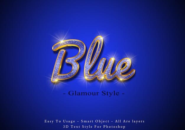 Efeito de texto 3d glamour azul