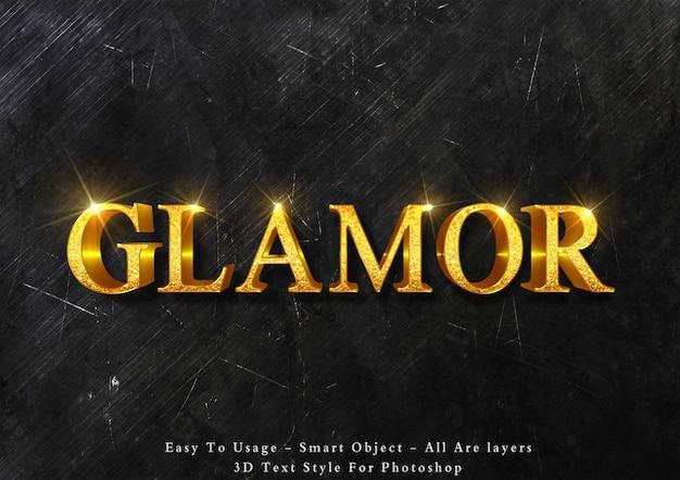 Efeito de texto 3d glamour ouro