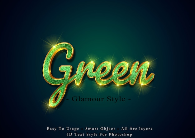 Efeito de texto 3d glamour verde