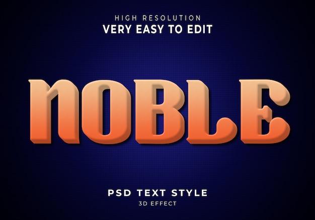 Efeito de texto 3d incrível nobre