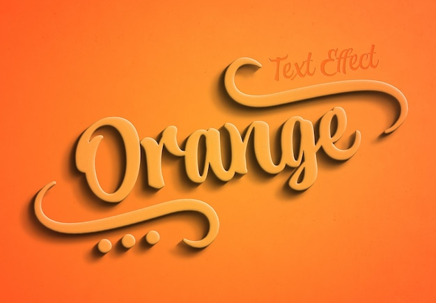 Efeito de texto 3d laranja com sombra mockup