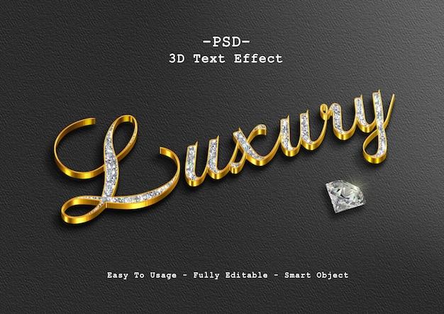 Efeito de texto 3d luxo ouro diamante