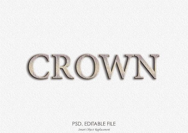 Efeito de texto 3d maquete logotipo coroa