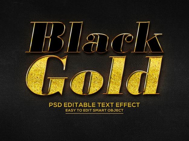 Efeito de texto 3d ouro preto