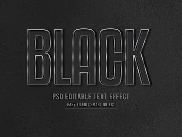 Efeito de texto 3d preto