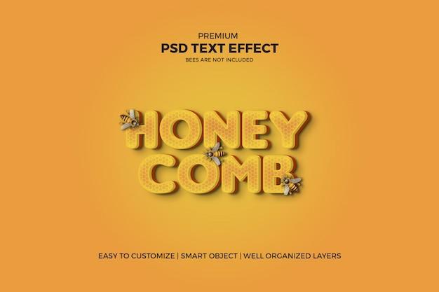 Efeito de texto 3d psd estilo favo de mel