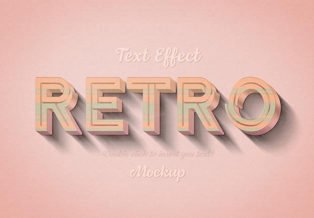 Efeito de texto 3d retrô com listras rosa e azuis