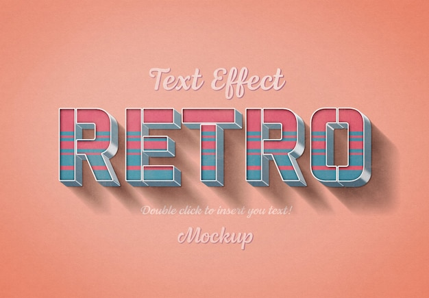 Efeito de texto 3d retrô mockup