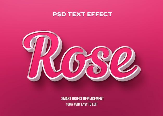Efeito de texto 3d rose