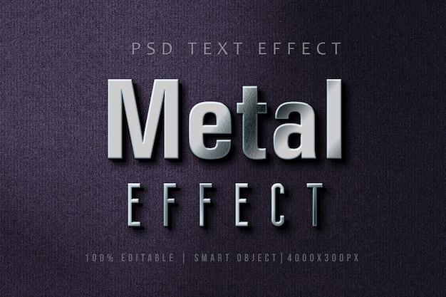 Efeito de texto 3d silver metal