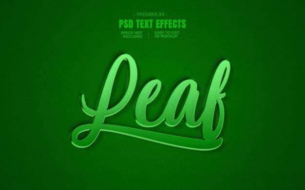Efeito de texto 3d verde folha