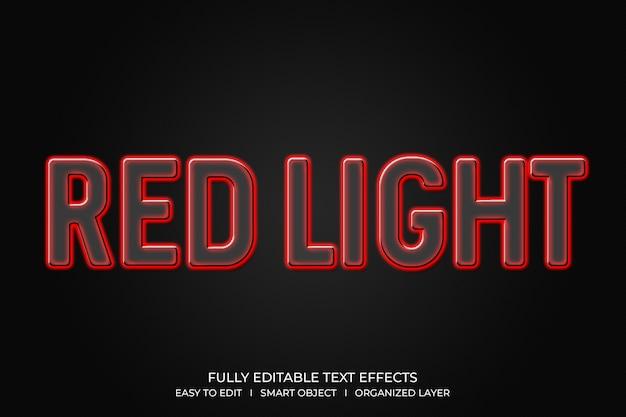 Efeito de texto 3d vermelho com estilo neon claro