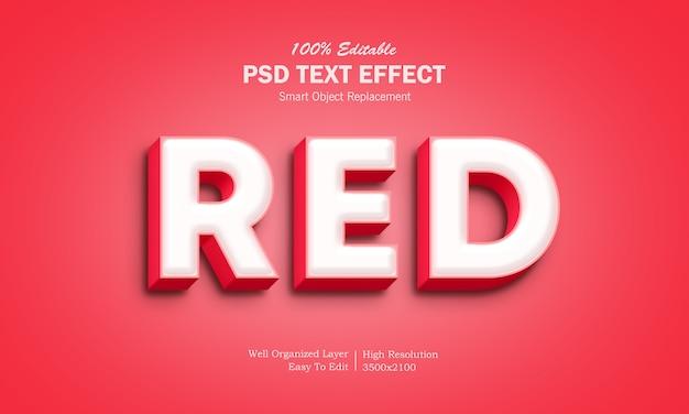 Efeito de texto 3d vermelho suave