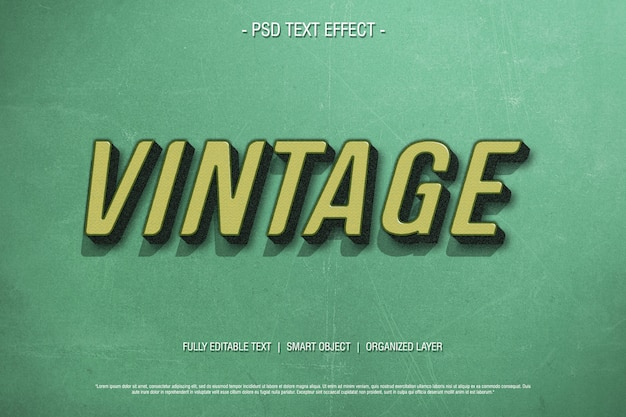 Efeito de texto 3d vintage