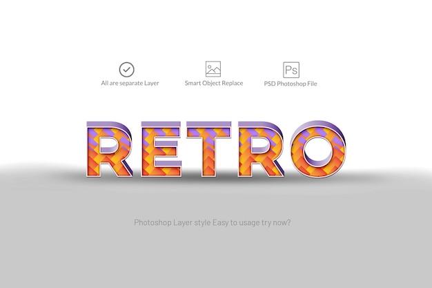 Efeito de texto abstrato 3d retrô