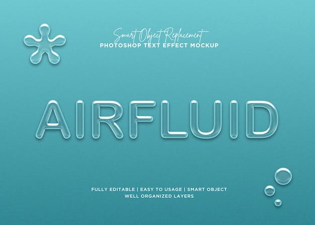 Efeito de texto airfluid de estilo 3d