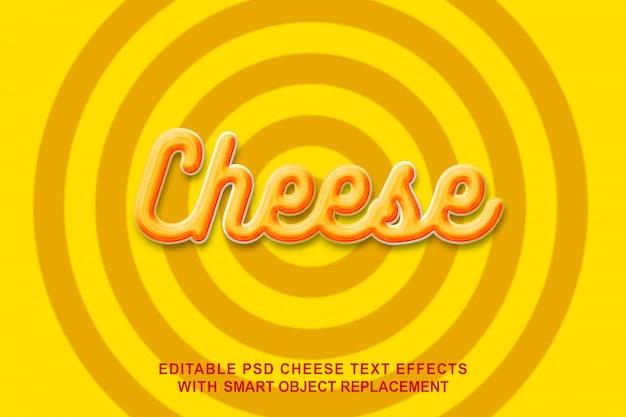Efeito de texto amarelo de queijo