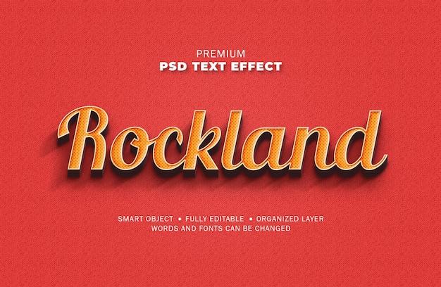 Efeito de texto amarelo vermelho vintage retrô 3d estilo textura ponto