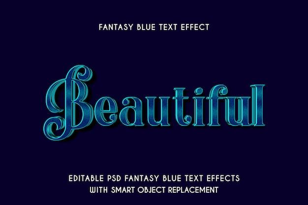 Efeito de texto azul fantasia