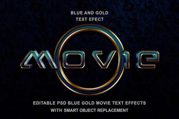 Efeito de texto azul ouro