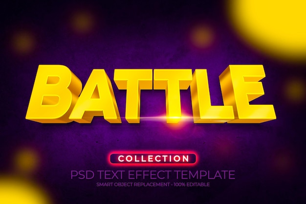 Efeito de texto battle 3d personalizado com fundo dourado brilhante e textura