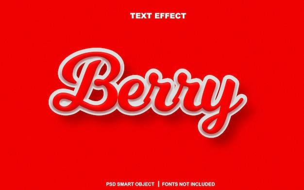 Efeito de texto berry. objeto inteligente de texto editável
