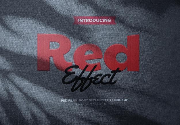 Efeito de texto bordado em tecido vermelho