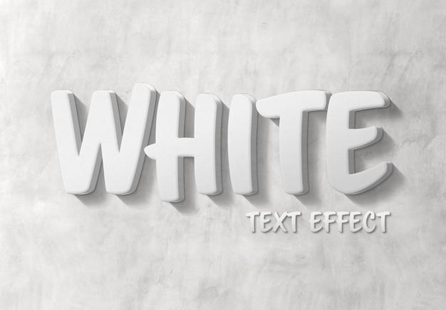 Efeito de texto branco 3d com sombra mockup