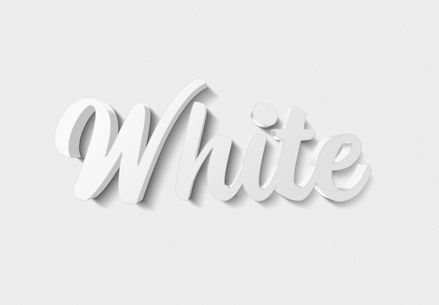 Efeito de texto branco com estilo 3d de metal
