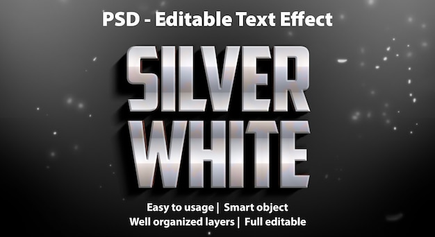 Efeito de texto branco prateado