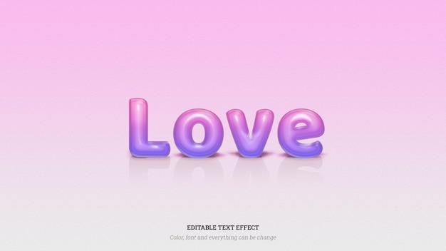 Efeito de texto brilhante amor