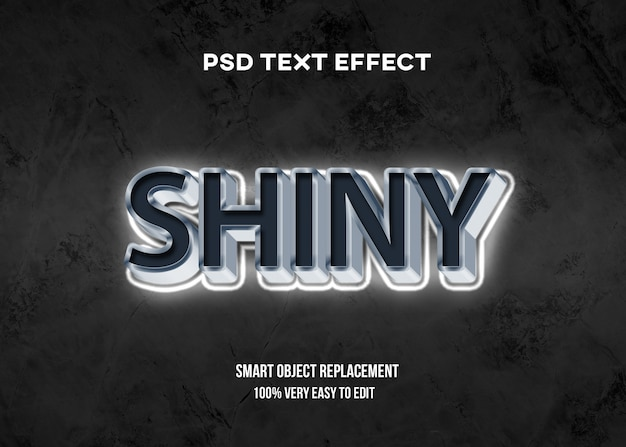 Efeito de texto brilhante branco 3d