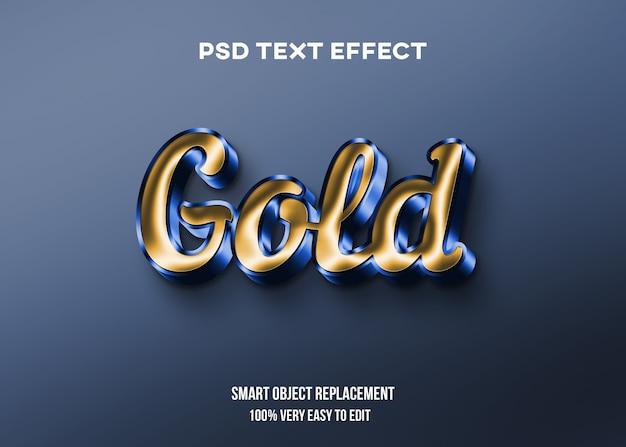 Efeito de texto brilhante dourado e azul