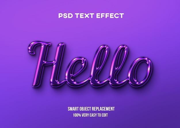 Efeito de texto brilhante roxo