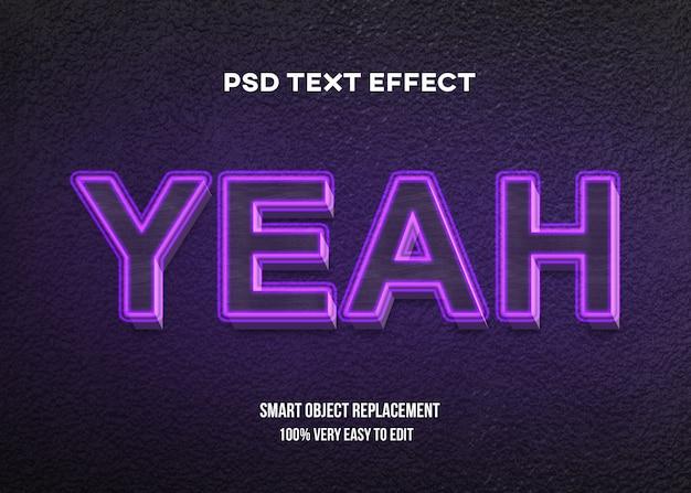 Efeito de texto brilho roxo