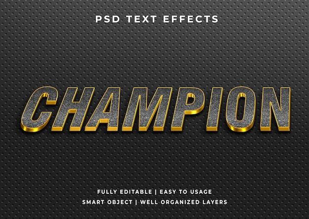 Efeito de texto campeão dourado editável