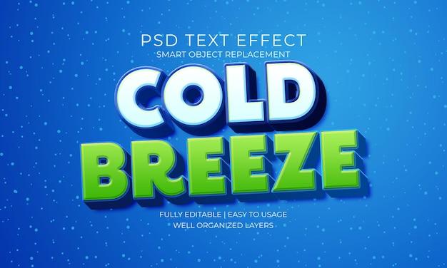 Efeito de texto cold breeze snow