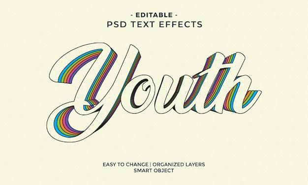 Efeito de texto colorido moderno da juventude