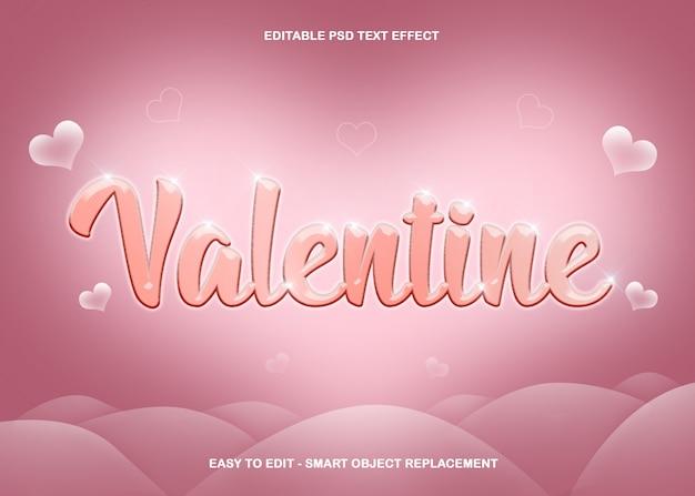 Efeito de texto coração de dia dos namorados