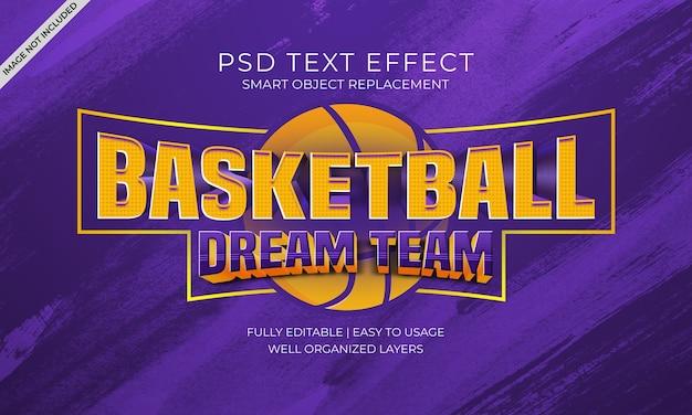 Efeito de texto da equipe dos sonhos de basquetebol