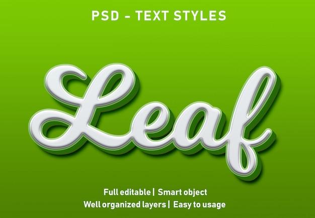 Efeito de texto da folha