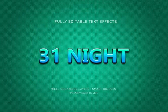 efeito de texto de 31 noites