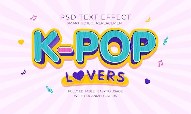 Efeito de texto de amantes de kpop