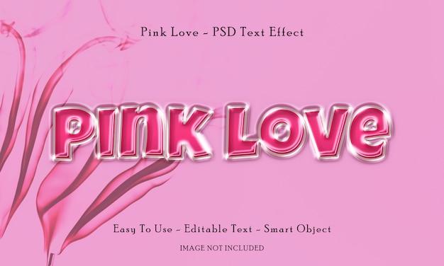 Efeito de texto de amor rosa